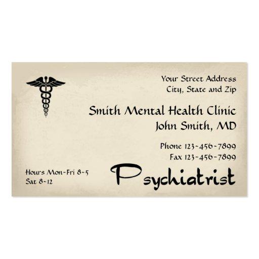 Tarjeta de visita de la salud mental del psiquiatr