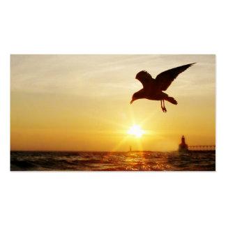 tarjeta de visita de la silueta de la puesta del s