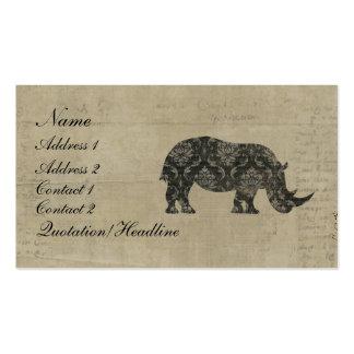 Tarjeta de visita de la silueta de los rinoceronte
