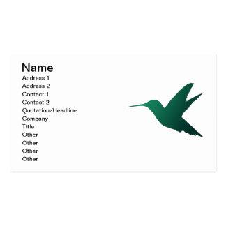 Tarjeta de visita de la silueta del colibrí