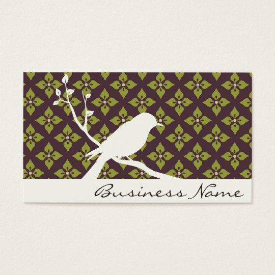 tarjeta de visita de la silueta del pájaro