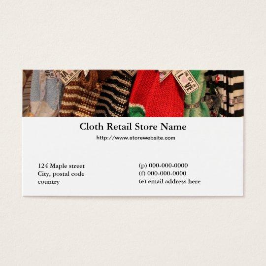 tarjeta de visita de la tienda al por menor del