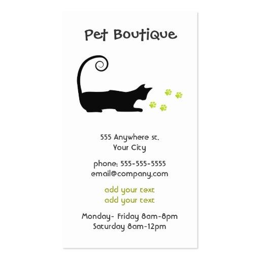 Tarjeta de visita de la tienda del mascota