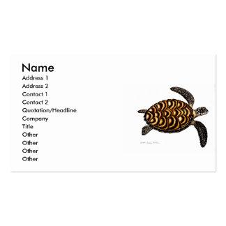 Tarjeta de visita de la tortuga de mar de Hawksbil