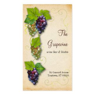 Tarjeta de visita de la vid de uva