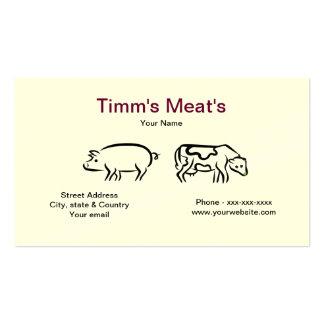 Tarjeta de visita de las carnes del cerdo y de la