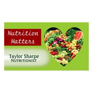 Tarjeta de visita de las comidas sanas de la nutri