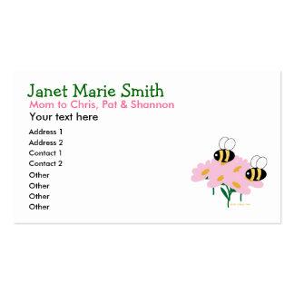 Tarjeta de visita de las flores rosadas y de 2 abe