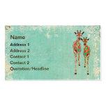 Tarjeta de visita de las jirafas/etiquetas azules