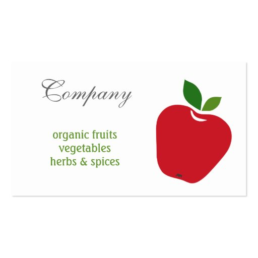 Tarjeta de visita de las manzanas