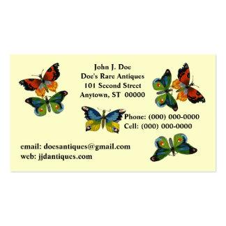 TARJETA de VISITA de las mariposas de la mariposa