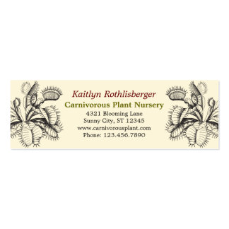 Tarjeta de visita de las plantas carnívoras