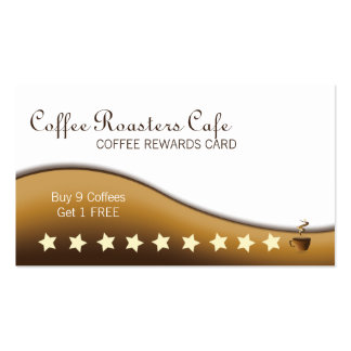 Tarjeta de visita de las recompensas del café y de