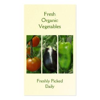 Tarjeta de visita de las verduras