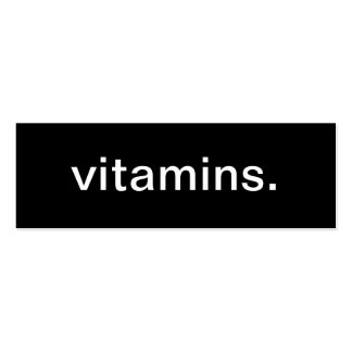 Tarjeta de visita de las vitaminas