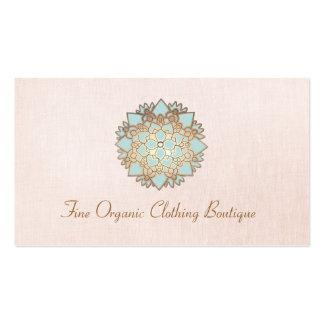 Tarjeta de visita de lino del rosa del boutique de