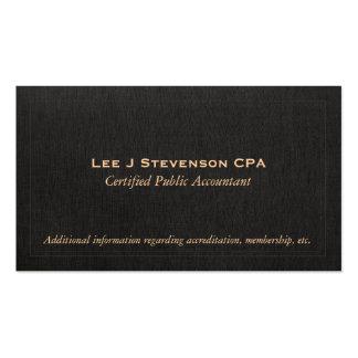 Tarjeta de visita de lino negra de CPA del contabl