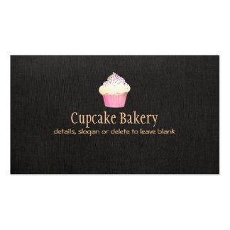 Tarjeta de visita de lino negra de la panadería de