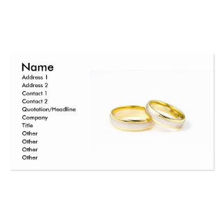 Tarjeta de visita de los anillos de bodas