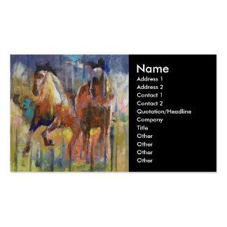 Tarjeta de visita de los caballos de raza
