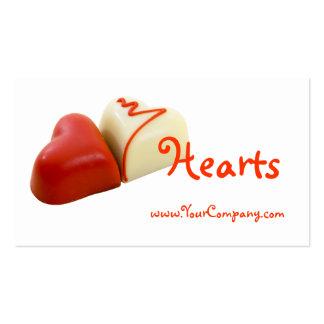 Tarjeta de visita de los corazones