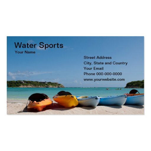 Tarjeta de visita de los deportes acuáticos