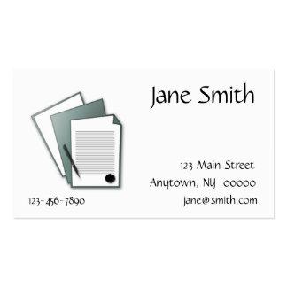Tarjeta de visita de los documentos