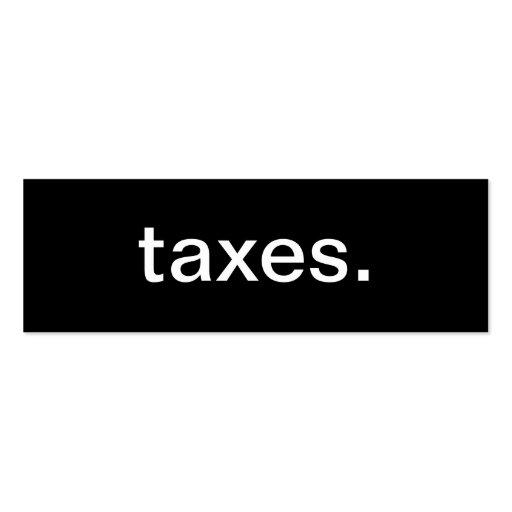 Tarjeta de visita de los impuestos