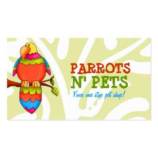 Tarjeta de visita de los mascotas de N de los loro