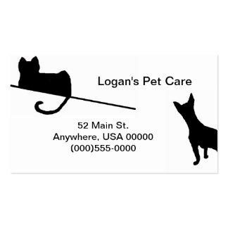 Tarjeta de visita de los mascotas