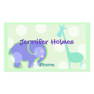 Tarjeta de visita de los niños animales en colores