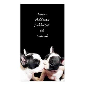 Tarjeta de visita de los perritos del dogo francés