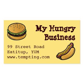 Tarjeta de visita de los snacks