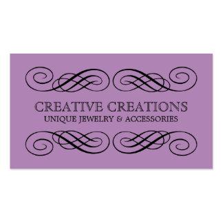 Tarjeta de visita de lujo violeta del Flourish