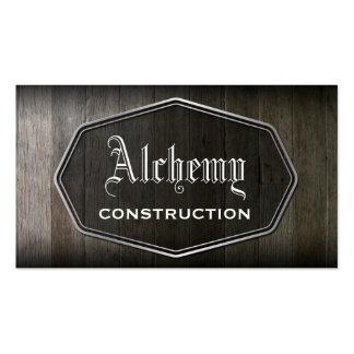 Tarjeta de visita de madera de construcción del ta