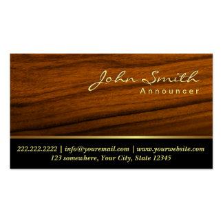 Tarjeta de visita de madera elegante del anunciado