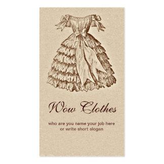 tarjeta de visita de moda del vestido del vintage