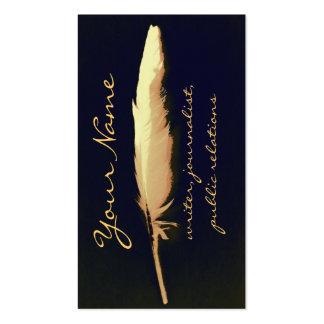 tarjeta de visita de oro del escritor de la canill