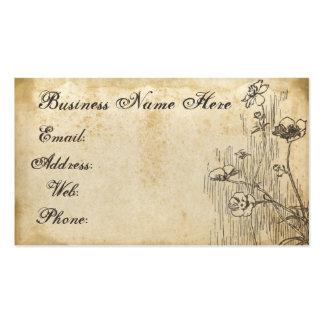 Tarjeta de visita de papel sucia floral vieja