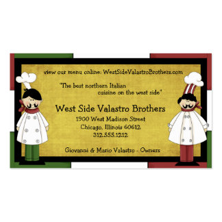 Tarjeta de visita de restaurante de dos cocineros