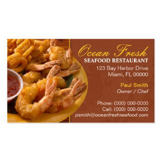 Tarjeta de visita de restaurante de los mariscos