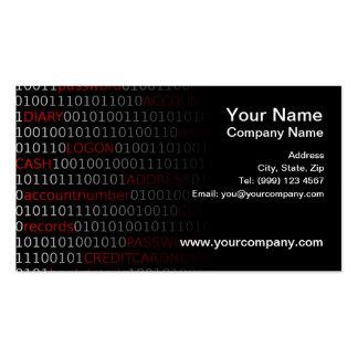 Tarjeta de visita de seguridad de datos