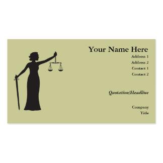 Tarjeta de visita de señora Justice