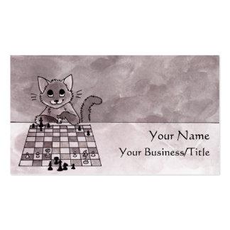 Tarjeta de visita del ajedrez del gato