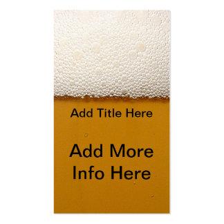 Tarjeta de visita del alcohol de la cerveza