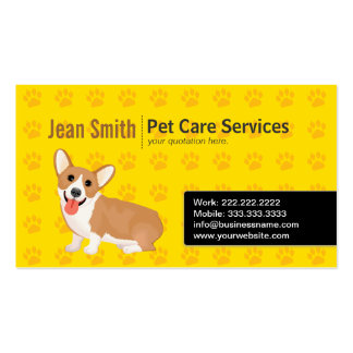Tarjeta de visita del amarillo del cuidado del per