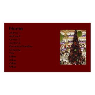 Tarjeta de visita del árbol de navidad de París La