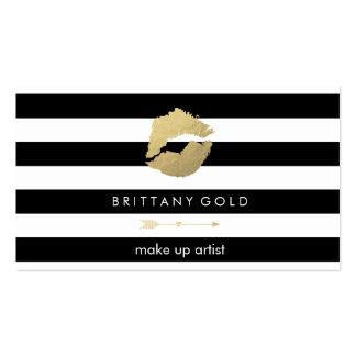 Tarjeta de visita del artista de maquillaje - oro