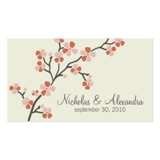 Tarjeta de visita del boda de la flor de cerezo