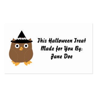 Tarjeta de visita del búho de Halloween